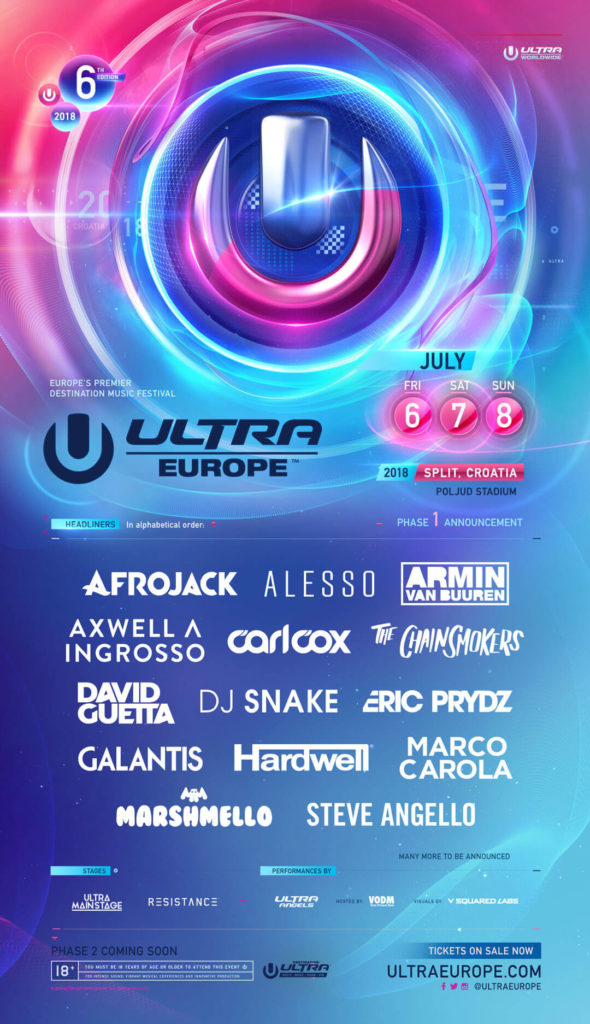 Ultra Europe 2018, lineup EMF Split 2018, Marshmello Ultra Europe